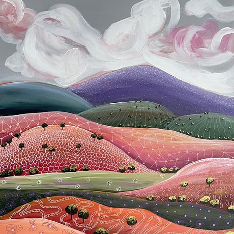 brightly coloured Australian abstract landscape