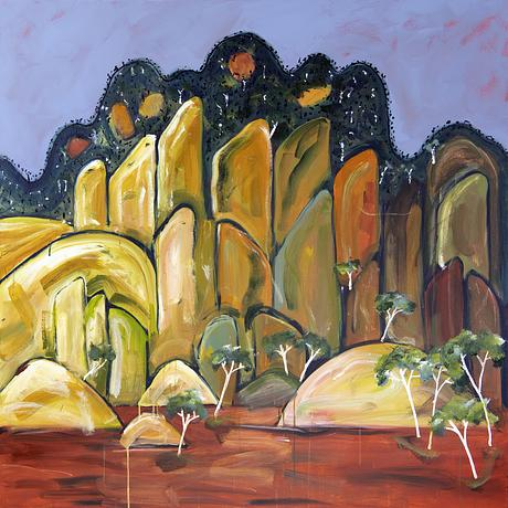 Hanging Rock abstract landscape in bold colours