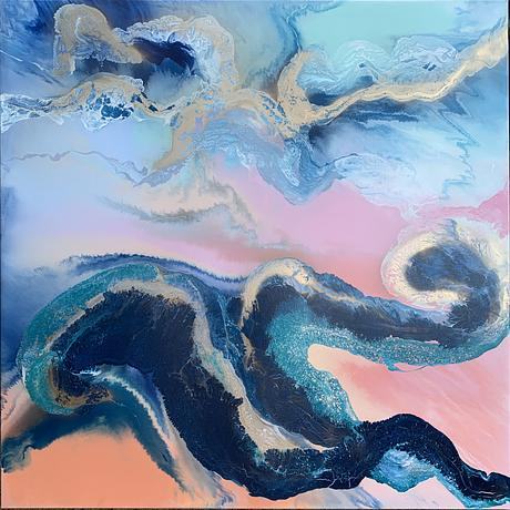 Swirly, colourful, blue and pink abstract