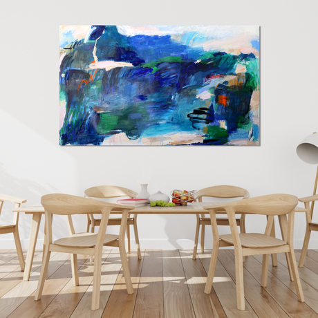 Expressive marks in deep blue and coral pinks evoking an abstract coastal scene