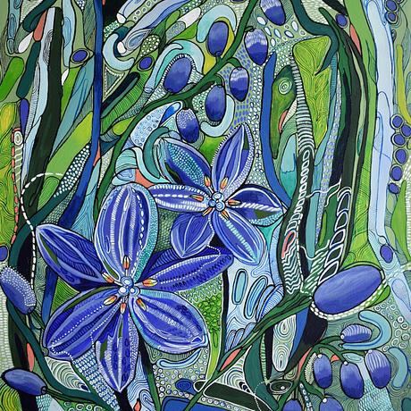 A very colourful decorative painting inspired by Australian Flora.  Bright green and blue colours dominate in this painting with some contrasting pink/orange.  Alot of fine detail is included in this painting with intricate patterns all over the painting.  The sides of the painting are painted.