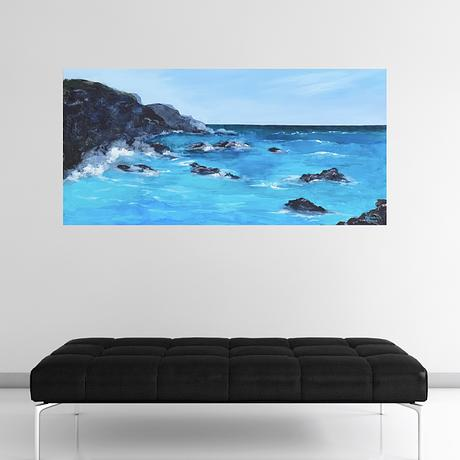 Dramatic Seascape with rocks. Translucent areas of turquoise.