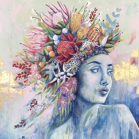 Portrait of woman with flowers in hair