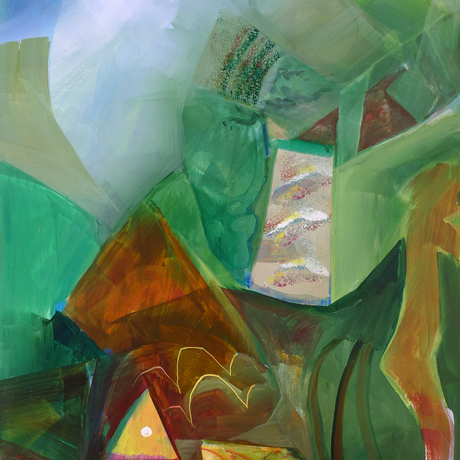 Abstract painting with geometric shapes, movement and human figure