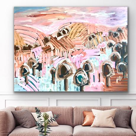 Vibrant pastel colours in a countryside impressionist style scene.