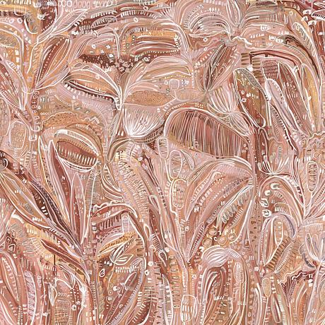 Bohemian style floral abstract in earthy pink, terracotta and beige.  Fully of details, forms and flow, by Carley Bourne