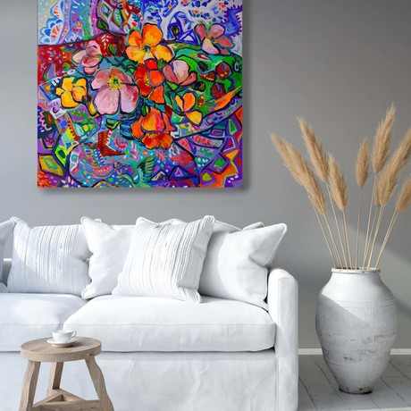 Still Life with Bright Poppies and patterns
