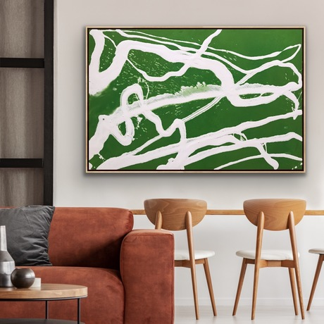 Large Green and white Flowing  abstract