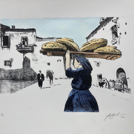 """A baker carries freshly made loves of """"Pane di Casa"""" delicious oven baked bread that forms a staple of Italian diet. A local and his mule amble down the street in no particular hurry. Derived from a 1930's photo"""