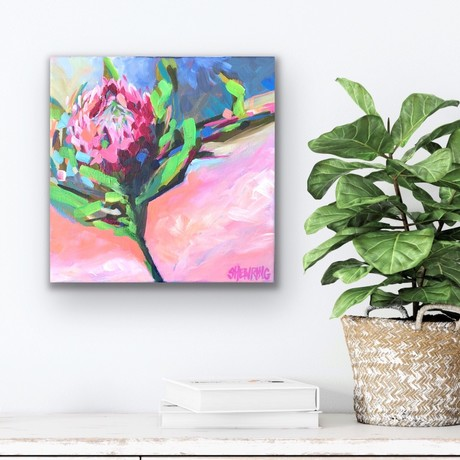 Small square canvas with one protea flower in vivid colours in an impressionistic style.