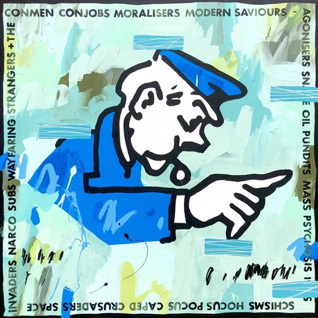 Expressive painting of the Monopoly policeman surrounded by Gareth Liddiard lyrics