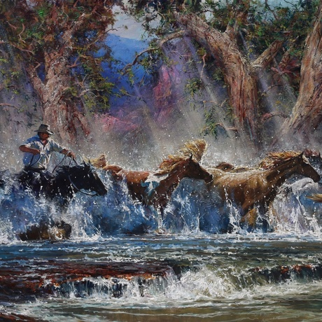 Magnificent impressionist Australian horse scene with splashing water and running horses!