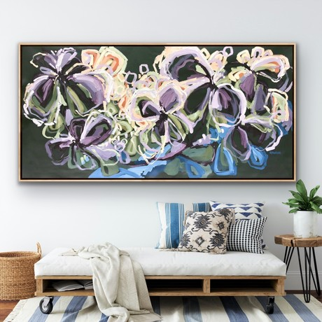 Beautiful flowers in expressive abstract style with big sweeping brushstrokes in purple, mauve, lilac, coral, milky coffee, terracotta, deep blue and sage green on an extra large canvas.