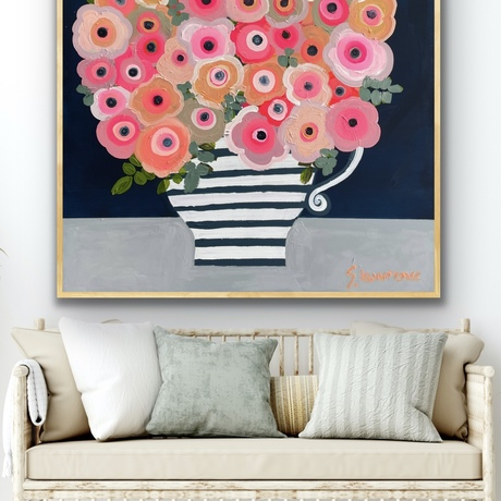 Framed large textured floral abstract