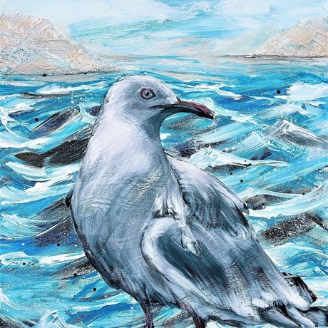 Beach Patrol - Seagull 10/02/2021 41cm (W) x 51cm (H) x 1.5cm (D) By HSIN LIN <br> Signed at front. Painted with palette knife and brushes. Ready to hang - D rings and wire attached at the back. Side panel painted: Blue Artist Acrylic & Lace (Mix Media) on Gesso primed canvas.  Comes with a certificate of authenticity. <br> Affirmation:  Stand still and hold your heart close to mine, I will keep you safe. <br> Seagull symbolism means that there is always opportunity in everything, even in the most unlikely time / places. It Is also a reminding to us that everything has a purpose. <br> As many of you may know I don't paint birds very often, but when I do it's normally a self-projection. <br> After months of lock down in Victoria, I felt the ocean was calling me so I took a day trip to Phillip Island. During the lunch I set down on a quiet beach and spotted this beautiful friend standing beside me.  The weather was nice and the sky was blue. This little fella accompanied me for quite some time and I really enjoyed the serenity by the sea with my new little friend.  I captured the Seagull with my eyes and camera, somehow, I saw determination and unwavering courage in its eyes, it's comforting in a way that I cannot describe.  I then worked in my studio for this piece after the trip, sending days capturing this beautiful bird with my paint brushes and canvas, and finally have it completed. Sharing this beautiful moment with you, hope you enjoy the latest piece of my animal series -THE VOICE OF NATURE SERIES - <br> Artwork inspired by nature in Phillip Island, Victoria, Summer 2021. -HSIN LIN <br> Exhibition - 16 APR - 3 May VAS MARITIME EXHIBITION at The Victorian Artists Society.
