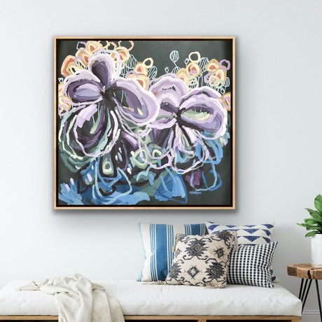 Beautiful flowers in expressive abstract style with big sweeping brushstrokes in purple, mauve, lilac, coral, terracotta, deep blue and sage green on a large square canvas.
