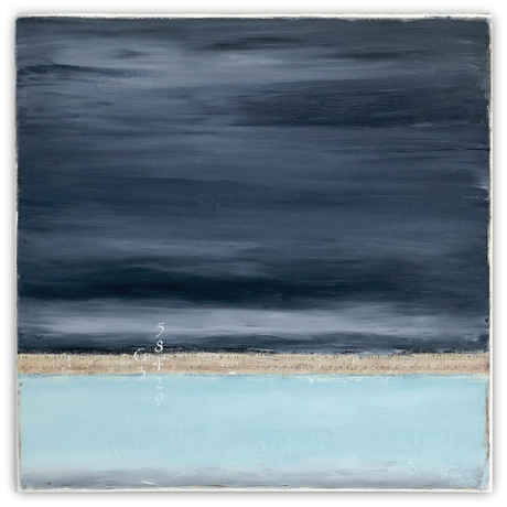 Dark and light blue landscape seascape, with texture and white numbers.