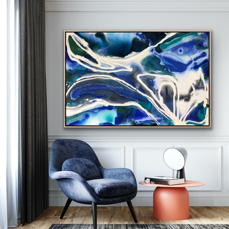 Blue  Flowing  abstract
