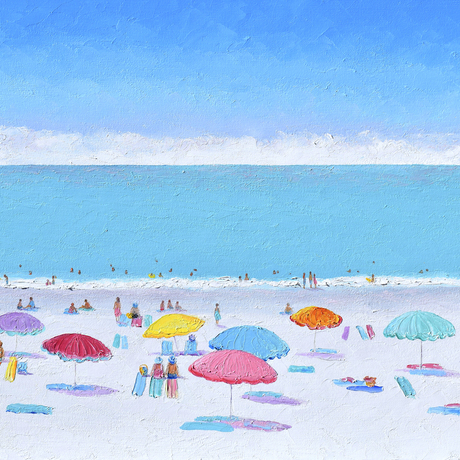 A beach scene with colourful beach umbrellas, people and a turquoise ocean.