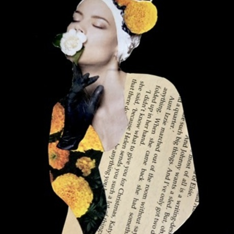 a girl with a black glove holds a rose to her lips she has aged book paper as a shirt and marigold flowers in her hair