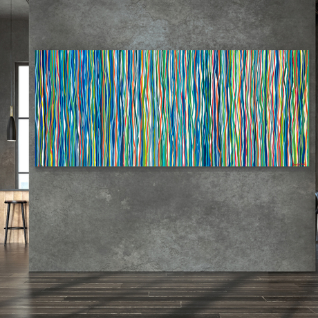 Abstract impression of the colours and movement of the 60s and 70's. Conflicting and complimentary colours create movement as if they are dancing to the music of that time.