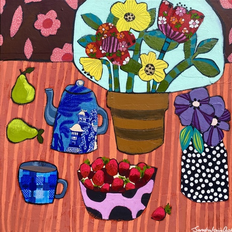 Bright colourful still life with bowl of strawberries, vase of flowers, coffee pot and cup.