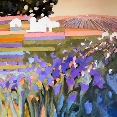 A modern bright colourfull painting of the country in Europe.