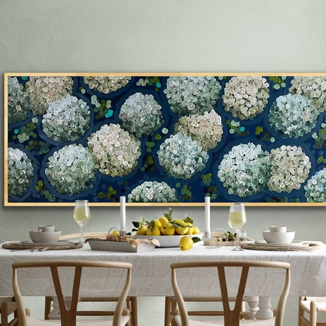 White abstract hydrangeas by night