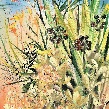 We Are One - Kangaroo Paw, Grevillea and Clivia - Australian Garden - By HSIN LIN 11/03/2021 Artist Acrylic on Premium quality triple primed gesso canvas. Signed at front and ready to hang. 60.9 x 101.6 x 3 cm Sides painted blue and brown as undertone. <br> Affirmation – We are all the waves in the ocean, together we are one. <br> Australia native plants are one of my favourite themes to study and to paint. I especially love how our native plants survive all kind of extreme weather condition in its own unique ways and still stand tall. It reminds me that we shall never give up no matter what kind of difficulty we encounter in life.   <br> Kangaroo Paw- originates from western Australia. The most common meaning for the bloom is uniqueness and individuality. Succulent symbolize Loyalty and endurance. <br> Grevillea symbolize courage, primarily native to Australia, are evergreen shrubs or trees of great beauty with needle-like to fern-like foliage and incredibly flamboyant flowers.  I walk by this particular grevillea tree every single day, in every season, the leaves are fascinating itself that I have painted them in my ongoing series. <br> Clivia is also a very common plant that you can find in Australian garden, also known as Natal lily or bush lily. The spiritual meaning of the blossoms is very positive. Its symbolic meaning coming from the appearance- tall, straight leaves, symbolized fortitude, unyielding, modest and gentle. In many culture, clivia flowers are also seen as a luck symbol for happiness, wealth and abundance, which is also one of the reasons why clivia plant is widely loved.  In this season, the clivia plant on my front yard has all the beautiful red and dark green clusters formed. <br> Flower always bloom in their own time without competing with other flowers. May we all bloom in our time in the best season. Hope you enjoy this artwork of mine. <br> Artwork inspired by the blooms of kangaroo paw plant at my front yard, in Bayswater, Melbourne, Vict