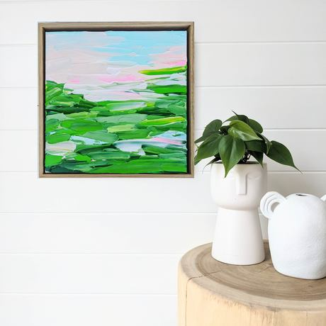 green abstract landscape with pink skies
