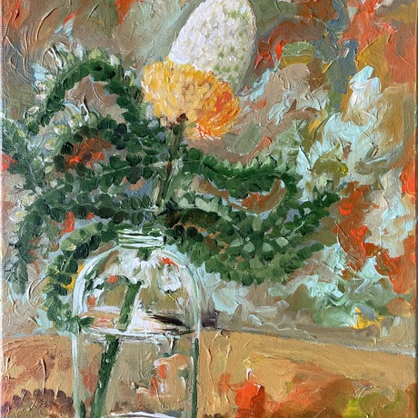 An impressionist artwork with acrylics, depicting a branch of banksia sitting in a glass vase. Dark Green, Orange and warm colours are dominating this painting, capturing movement and stillness at the same time.