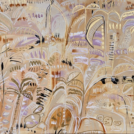 Golden Summer, a contemporary modern boho abstract impression, with gold leaf details, textures and marks.