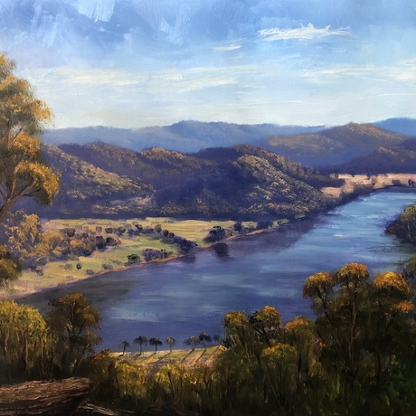 An original landscape oil painting of Wisemans Ferry NSW by Vidal