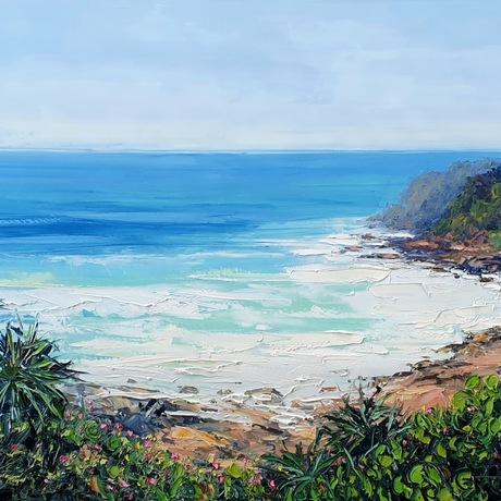 seascape, landscape, ocean, vista, view, nature, beach, trees