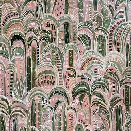 An impression of forms and patterns of a garden within a Moroccan Kasbah.  Cacti and Desert Palms are featured in this modern boho style artwork by Carley Bourne
