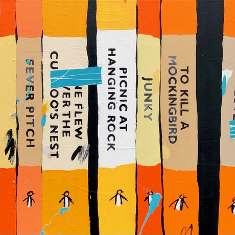 a row of classic penguin book spines