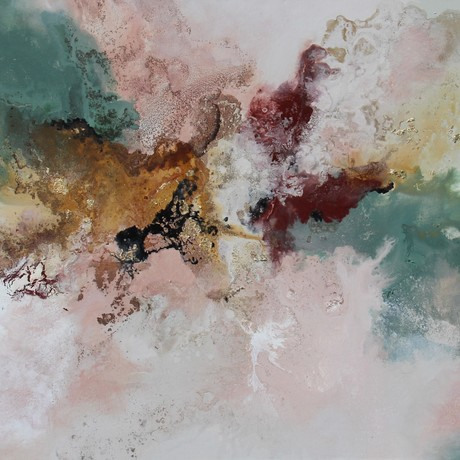 Large Abstract Artwork flowing colours of Moss green, Blush pink, White, Rust , Black, Beige and Gold leaf