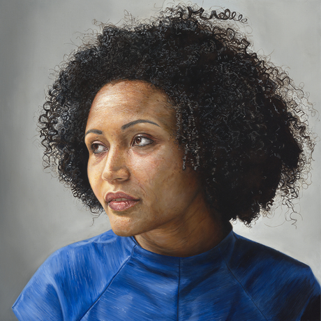 A square canvas featuring the portrait of a woman with a gentle expression, curly black Afro style hair and wearing a royal blue dress