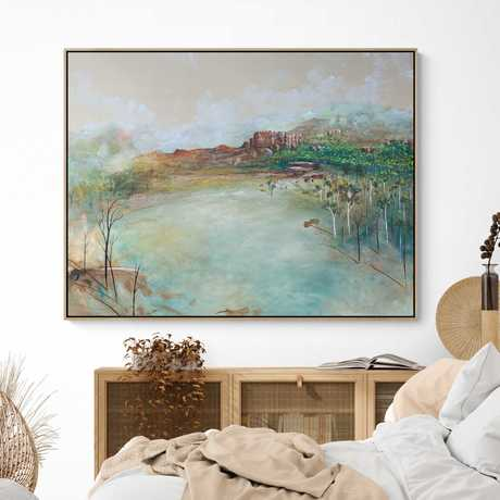 Soft and romantic pastel toned abstract landscape of blue, green and yellow tones