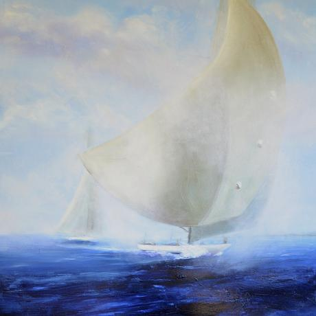 (CreativeWork) J class yacht by Sandy Muston. Oil. Shop online at Bluethumb.