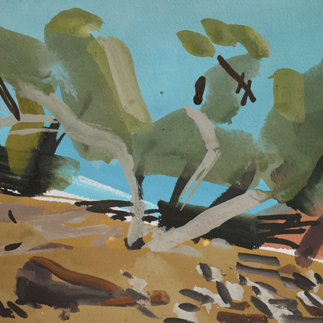 (CreativeWork) Ochre Creekbed II by Lise Temple. Watercolour. Shop online at Bluethumb.