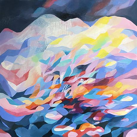 (CreativeWork) Crystal Mountain by Nicole Black. Oil. Shop online at Bluethumb.