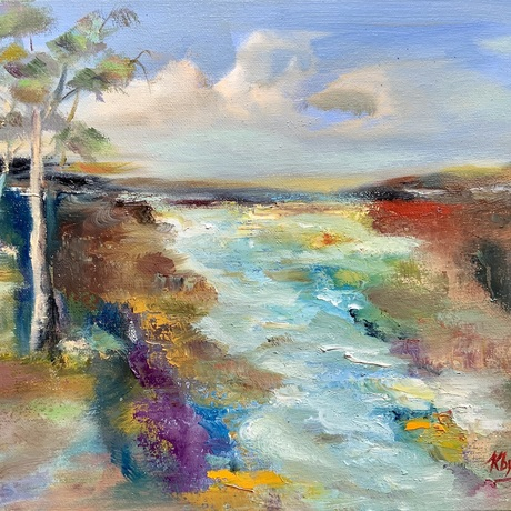 (CreativeWork) BY THE MURRAY-VICTORIA by Kryssy Byrne. Oil. Shop online at Bluethumb.