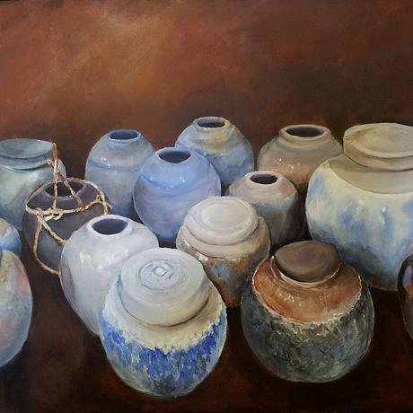 (CreativeWork) Display of Pots at Hill End, NSW, Australia by Laraine Palmer. Acrylic. Shop online at Bluethumb.