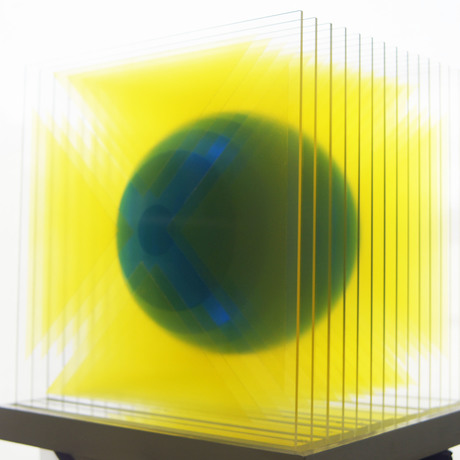 Acrylic sheet sculpture floating sphere