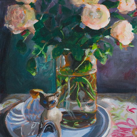 (CreativeWork) The Porcelain Cat by Fiona Smith. Acrylic. Shop online at Bluethumb.