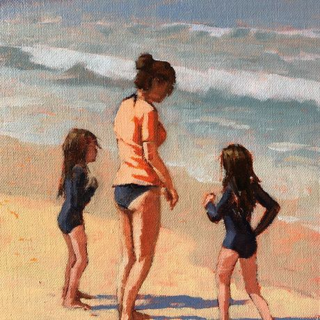 (CreativeWork) The Twins, Catherine Hill Bay beach by Peter Studley. Oil. Shop online at Bluethumb.