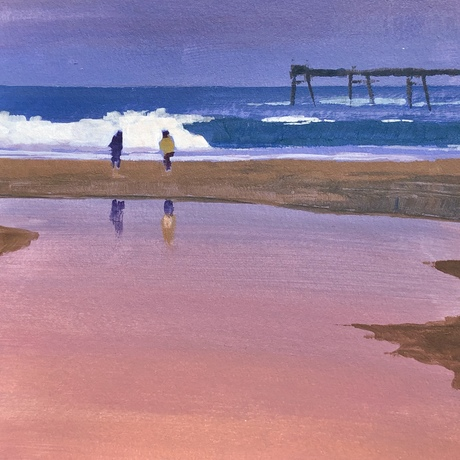 (CreativeWork) Sunset Beach, Catherine Hill Bay by Peter Studley. Acrylic. Shop online at Bluethumb.