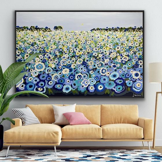 (CreativeWork) Happy memories in blue 157x107 framed (choice of color ) large textured landscape by Sophie Lawrence. Acrylic. Shop online at Bluethumb.