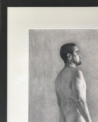 Drawing of a nude man from behind